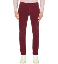 Armani Jeans J45 Slim Fit Tapered Mid Rise Corduroy Bordeaux