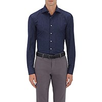 Cifonelli Men's Graph Checked Fitted Poplin Shirt Navy