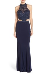 Women's Sean Collection Beaded Cutout Jersey Column Gown