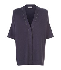 Brunello Cucinelli Short Sleeve Cashmere Cardigan Female Navy