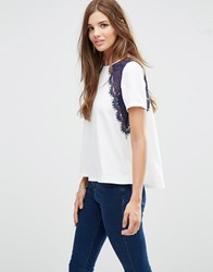 Girls On Film Short Sleeve Top With Lace Detail White Tan