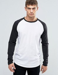Jack And Jones Longsleeve T Shirt With Raglan Sleeves White Black