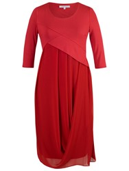 Chesca Jersey Chiffon 3 4 Sleeve Dress Red