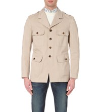 Tom Ford Tailored Cotton Twill Military Jacket Beige