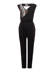 Label Lab Beaded Neckline Woven Jumpsuit Black
