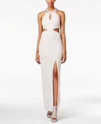 Teeze Me Juniors' Shine Cutout Side Slit Gown Off White