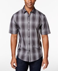 Alfani Men's Big And Tall Short Sleeve Ombre Plaid Shirt Only At Macy's Deep Black