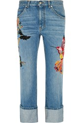 Alexander Mcqueen Sequin Embellished Embroidered High Rise Straight Leg Jeans Blue