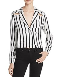 Kendall And Kylie Pj Stripe Silk Shirt White Black Stripe