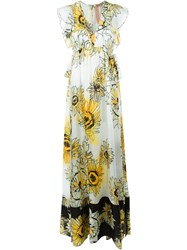 N 21 N.21 Sunflower Print Maxi Dress White