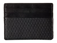 John Varvatos Perforated Slim Card Case Black Credit Card Wallet