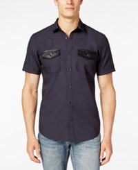 Inc International Concepts Men's Osric Multi Pocket Short Sleeve Shirt Only At Macy's Dark Lead