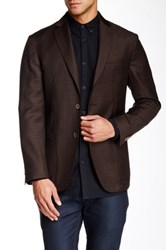 Zanetti Brown Check 2 Button Side Vent Modern Fit Wool Sport Coat