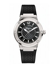 Salvatore Ferragamo F 80 Stainless Steel Laser Cut Rubber Strap Watch Black