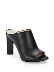 French Connection Meena Open Toe Leather Mules Black