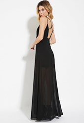 Forever 21 Wyldr High Slit Chiffon Maxi Dress Black