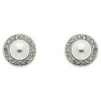 Finesse Pearl Swarovski Crystal Stud Earrings White Silver