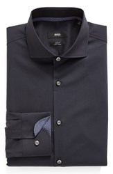 Boss Men's Big And Tall Slim Fit Easy Iron Solid Dress Shirt Navy