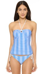 Shoshanna Textured Stripe Ring Tankini Top Blue White