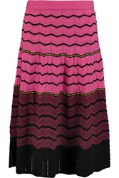 M Missoni Cotton Blend Crochet Knit Skirt Pink