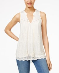 American Rag Embroidered Chiffon Tank Top Only At Macy's Oatmeal