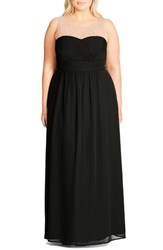 City Chic Plus Size Women's Embellished Sheer Illusion Neck Gown Black