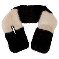Chesca Block Faux Fur Collar Scarf Black Almond