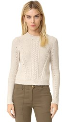 Veronica Beard Charmer Crew Neck Sweater Oatmeal