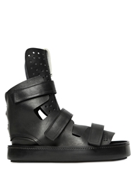 Artselab Open Toe Leather High Top Sneakers Black