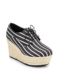 Alice Olivia Rosie Striped Canvas And Jute Platform Wedge Oxfords Black White