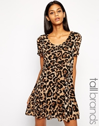 Glamorous Tall Animal Print V Neck Shift Dress Multi