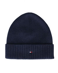Tommy Hilfiger Navy Cotton And Cashmere Hat Blue