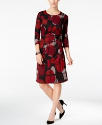Ny Collection Petite Printed Ruched Dress Red Segment