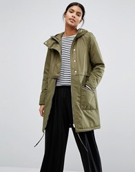 Vila Padded Button Front Coat Ivy Green