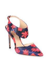 Nicholas Kirkwood Leda Flower Print Leather Slingback Pumps Poppy Red