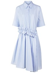 Victoria By Victoria Beckham Blue Cotton Stripe Ruffle Shirt Dress Striped