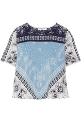 Sandro Elise Printed Washed Silk Top Blue