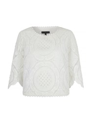 Mela Loves London Broderie Lace Cropped Top White