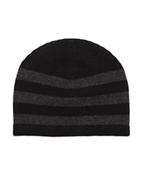 The Men's Store At Bloomingdale's Striped Cashmere Beanie Black Charcoal
