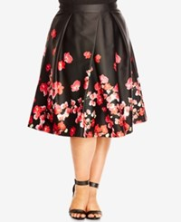 City Chic Plus Size Floral Print Fit And Flare Skirt Black