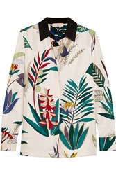 Tory Burch Madison Printed Silk Twill Shirt White