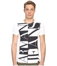 Armani Jeans Large Vertical Color Block Logo Tee White