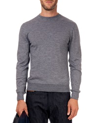 Berluti Leather Detail Crew Neck Sweater Lt Gray
