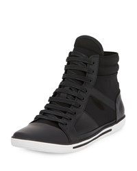 Kenneth Cole Sun Down Leather Neoprene High Top Sneaker Black