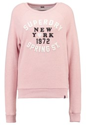 Superdry Applique Crew Sweatshirt Blush Pink Marl Rose