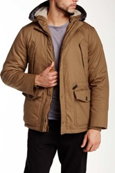 English Laundry Faux Shearling Hooded Parka Brown