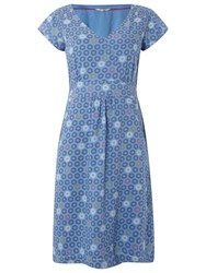 White Stuff Floral Spot Dress Wash Blue