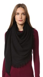 White Warren Cashmere Triangle Fringe Scarf Black