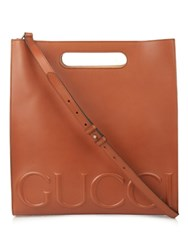 Gucci Embossed Leather Tote Brown