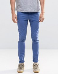 Asos Super Skinny Jeans In Bright Blue Navy Peony